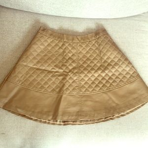 Dresses & Skirts - Tan faux leather quilted circle skirt